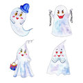 Set of ghosts on a white background watercolor illustration Royalty Free Stock Images