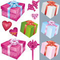 Set of gift box and holiday decorations Stock Photo