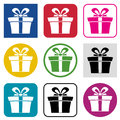 Set of gift box icons colorful Stock Photography