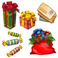 Set of gift boxes and bag with gifts, letters to Santa Claus, candy isolated on white background. Sketch for greeting Royalty Free Stock Photo