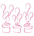 Set gift boxes with balloons for your anniversary illustration Royalty Free Stock Photography