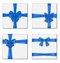 Set gift boxes with blue bows isolated on white background illustration Royalty Free Stock Image