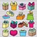 Set of gift boxes colored painted with bow ribbon Stock Photos