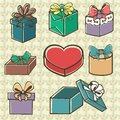 Set of gift boxes colored painted with bow ribbon in retro style Royalty Free Stock Photos