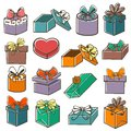 Set of gift boxes colored painted with bow ribbon in retro style Stock Photo