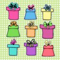Set of gift boxes colorful with bow ribbon in a drawing cartoon style Royalty Free Stock Images