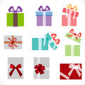 Set of gift boxes icon overlapping graphic on white, vector Royalty Free Stock Photo