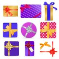 Set of gift boxes with ribbons and bows Royalty Free Stock Photo