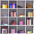 Set of gift boxes on she shelves Royalty Free Stock Images