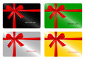 Set of gift card with red ribbon. Royalty Free Stock Image