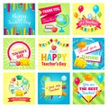 Set of gift cards for Teacher`s Day. Vector illustrations collection.