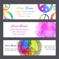 Set of  gift certificates, banners and vouchers with sign of peace with a boho pattern and rainbow watercolor splashes Royalty Free Stock Photo