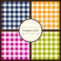 Set of gingham plaid patterns seamless for your design Royalty Free Stock Photos
