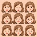 Set of girl head with different facial expression