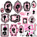 Set of glamour girl portraits black silhouettes princess accessories and furniture Stock Images