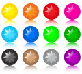 Set of glass coloured buttons with stars Royalty Free Stock Photo