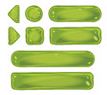 Set of glass green buttons for game interfaces