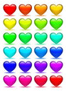 Set of glass hearts icons Stock Photos
