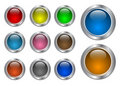Set of glass, metallic blank web buttons Stock Photos