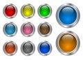 Set of glass, metallic blank web buttons Royalty Free Stock Photo