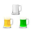 Set of glass mugs with beer Royalty Free Stock Photo
