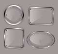 Set of glass plates in metal frames illustration Stock Images