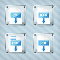Set of glass rar zip doc and pdf download icons on a striped background Stock Photos