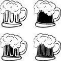 Set of glasses of beer stencils vector illustration Stock Photos
