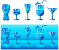 Set of glasses in blue Royalty Free Stock Photography
