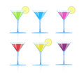 Set of glasses with different colored drinks Royalty Free Stock Photo