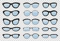 A set of glasses isolated. Vector glasses model icons. Sunglasses, glasses, isolated on white background. Silhouettes