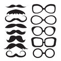 Set glasses and mustache silhouettes black on white background Stock Photo