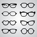 Set of glasses vector with black thick holder retro hipster medical huge eye silhouette collection sign Royalty Free Stock Images