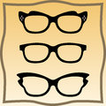 Set of glasses vector with black thick holder retro hipster medical huge eye silhouette collection sign Stock Photography