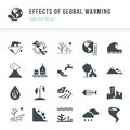 Set of global warming icons. Natural disasters caused by climate change.