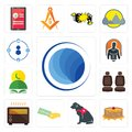 Set of globe, pancake, service dog, money back guarantee, heater, car seat, quran, fitness, tidy icons Royalty Free Stock Photo