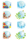 Set of globes four seasons Royalty Free Stock Photo