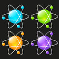 Set of glossy atomic icons Royalty Free Stock Images