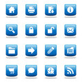 Set of glossy blue web icons Royalty Free Stock Image