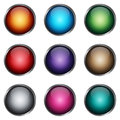 Set glossy buttons with metallic frame eps Stock Images