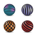 Set of glossy colored balls with strip and square fill, vector illustration.