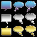 Set of Glossy Speech Bubbles Stock Photos