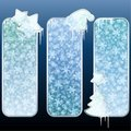 Set of glossy vertical banners with icicles Stock Images