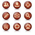 Set of glossy wooden web icons Royalty Free Stock Images