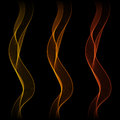 Set of Glowing Abstract Isolated Wave Lines for Black Background