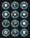 Set glowing blue action buttons dark background Stock Photos