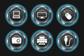 Set glowing blue device buttons dark background Stock Images