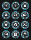 Set glowing blue media buttons dark background Stock Images
