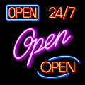 Set of glowing neon OPEN signs Royalty Free Stock Photography