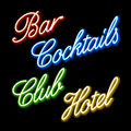 Set of glowing neon signs Royalty Free Stock Photography
